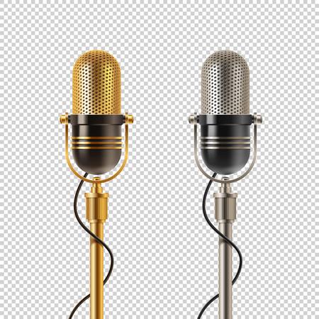 Two retro microphones icon