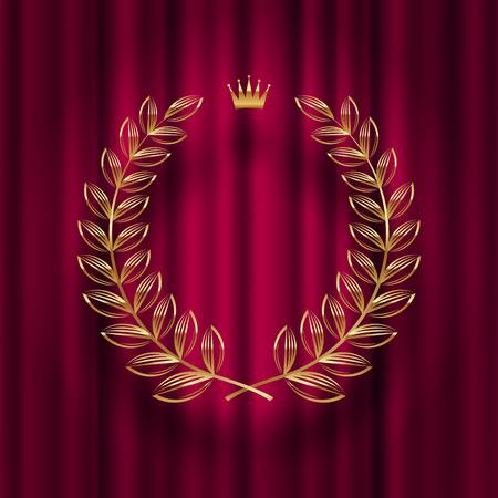 Golden laurel wreath with royal crown design