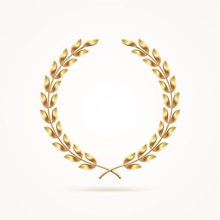 Golden laurel wreath. Vector illustration. Çizim