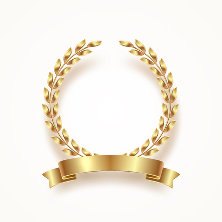 Golden laurel wreath with ribbon. Vector illustration.
