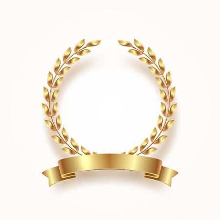 Golden laurel wreath with ribbon. Vector illustration.