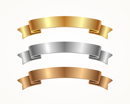 Set of banner ribbon - gold, silver, bronze. Vector illustration.