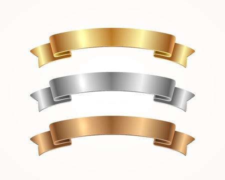 Zestaw wstążek banerowych - złoto, srebro, brąz. Ilustracji wektorowych. Ilustracje wektorowe