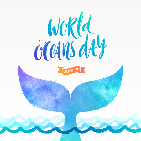 World oceans day vector illustration - brush calligraphy and  the tail of a dive whale above the ocean surface.