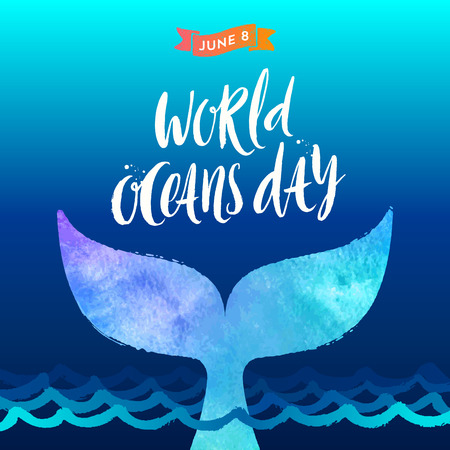 World oceans day vector illustration - brush calligraphy and  the tail of a dive whale above the ocean waves. Illustration