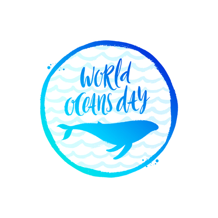World oceans day emblem - brush calligraphy and whale silhouette on a hand drawn ocean waves background. Vector illustration.