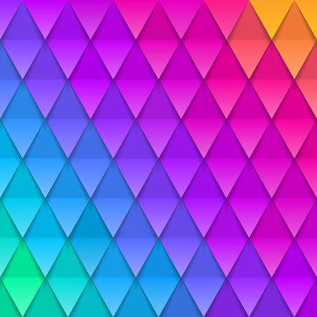 Abstract multicolored background. Paper colorful artificial squama or plumage. Vector illustration. Paper triangles background.