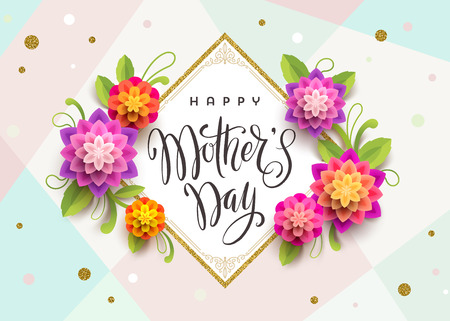 Happy mothers day - Greeting card with brush calligraphy greeting and flowers. Vector illustration.