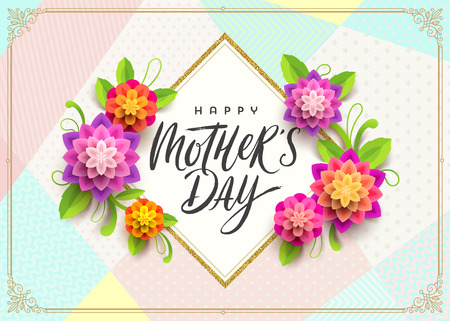 Happy mothers day - Greeting card. Brush calligraphy greeting and flowers on pattern background. Vector illustration.