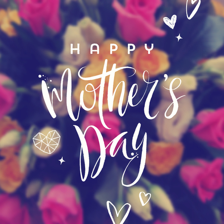 Happy mothers day - Greeting card. Brush calligraphy greeting and hand drawn hearts on a blurred flowers background. Vector illustration. Illustration