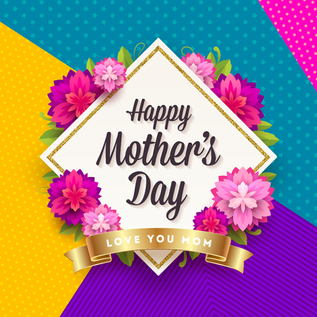 Happy mothers day - Greeting card. Frame with greeting, flowers and golden ribbon on a pattern background. Vector illustration. Illustration