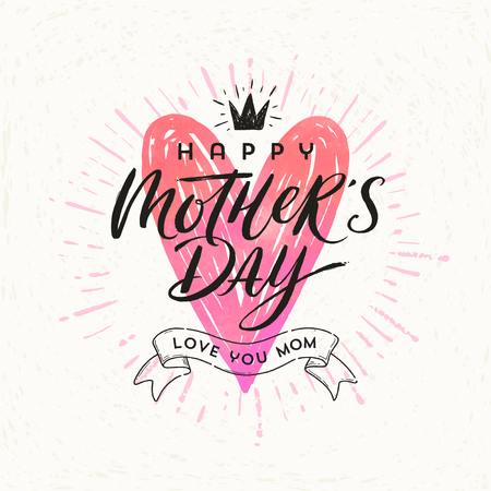Happy mothers day - Greeting card. Brush calligraphy on a hand drawn shinning heart . Vector illustration.
