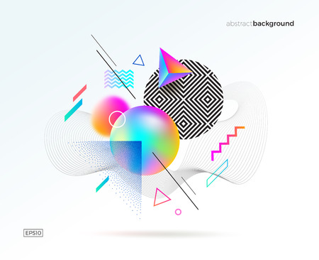 Vector astract design with different geometric, 3d, linear and stipple shapes. Abstract multicolored composition.