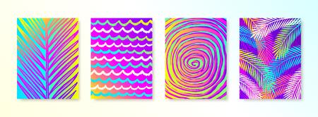 Set di vacanze estive e vacanze disegnate a mano sfondo multicolore per poster o biglietto di auguri. Illustrazione vettoriale.