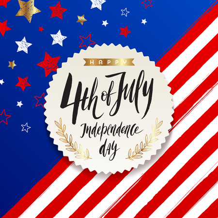 4th of July, Independence day - label with brush calligraphy greeting on a stars and stripes USA patriotic background. Vector illustration