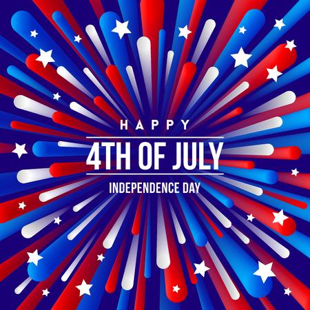 4 juillet, jour de l'indépendance - conception de voeux avec des rayons de feu d'artifice de couleurs patriotiques des États-Unis. Illustration vectorielle.