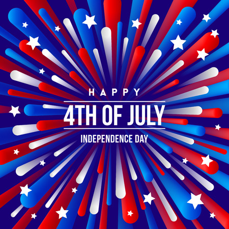 4th of July, Independence day - greeting design with USA patriotic colors firework burst rays.