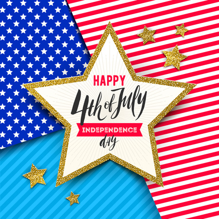 4th of July, Independence day - Star with brush calligraphy greeting on a stars and stripes USA patriotic colors background. Vector illustration.  イラスト・ベクター素材
