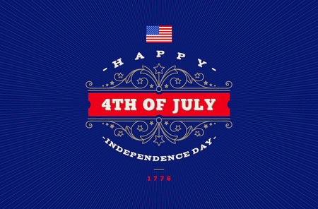 4th of July, Independence day - greeting design with flourishes ornamental frames. Vector illustration.