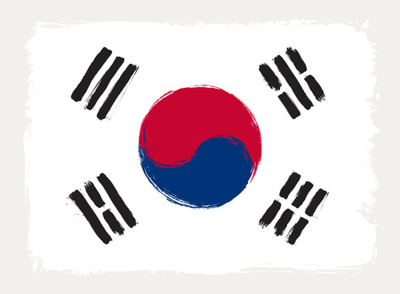 South Korea flag drawn in grunge painting style. Vector illustration.