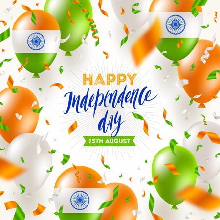 India independence day. Confetti and balloons in the colors of the indian national flag and brush calligraphy greeting. Vector illustration.