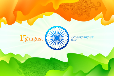 India independence day illustration. Abstract indian flag - fluid shapes with traditional ornament in the colors of the indian national flag and Ashoka wheel with greeting.
