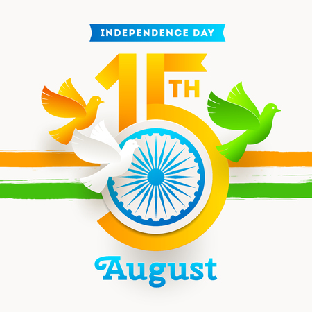 India independence day emblem. Holiday date with Ashoka wheel and doves in the colors of the indian national flag. Vector illustration.