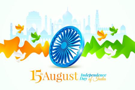 Ilustración del día de la independencia de la India. Rueda de Ashoka, ondas fluidas y palomas en los colores de la bandera nacional india sobre un fondo con hitos de la arquitectura india. Ilustración vectorial.