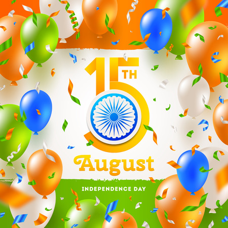 India independence day. Confetti and balloons in the colors of the indian national flag and greeting with holiday date and Ashoka wheel on a indian tricolor background. Vector illustration.