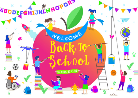 Back to school vector illustration. Group of active children around a giant apple. Children characters doing different activities liking painting, studying, reading and explore.
