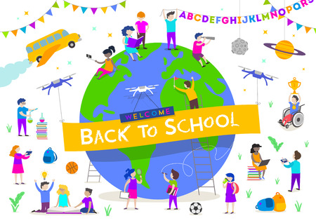 Back to school vector illustration. Group of active children around a giant globe. Children characters doing different activities liking  studying, reading, explore and  recreation.