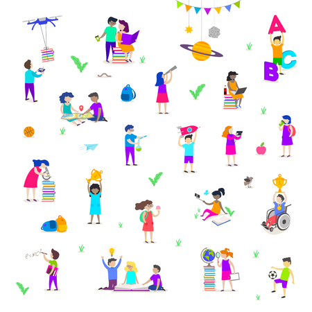 Back to school - vector illustration. Group of active children. Set of isolated people characters. Children characters doing different activities liking painting, studying, sport, daydream, reading and explore.