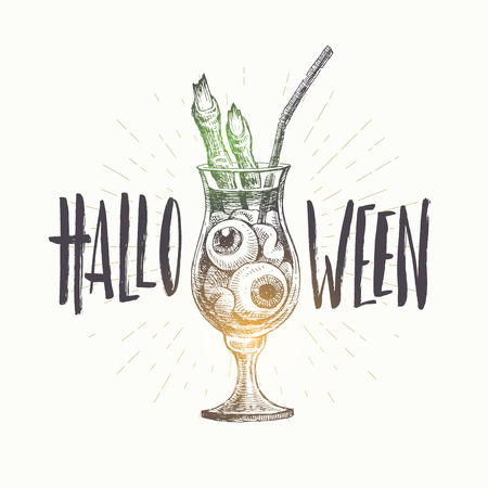 Halloween vector hand drawn illustration. Glass of cocktail with eyeballs and the fingers of the dead man.