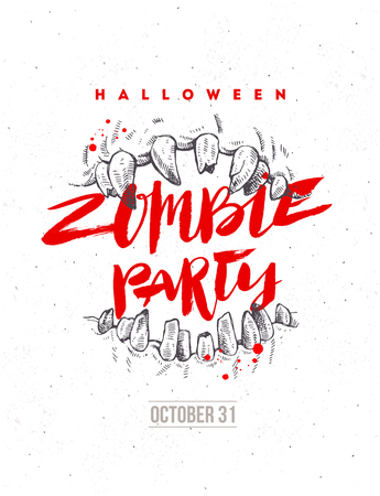 Halloween vector hand drawn illustration. Zombie party poster or flyer. Jaws of a monster and brush calligraphy headline.