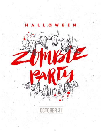 Ilustración de dibujado a mano de vector de Halloween. Cartel o volante de fiesta zombie. Mandíbulas de un monstruo y titular de caligrafía de pincel.