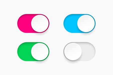 On and Off toggle switch buttons. Material design switch buttons set. Vector illustration.