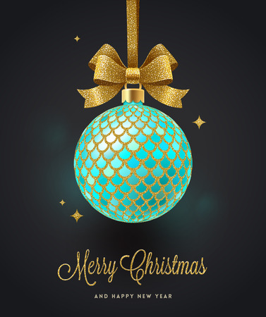 Christmas greeting card - ornate Christmas ball with glitter gold bow. Vector illustration.