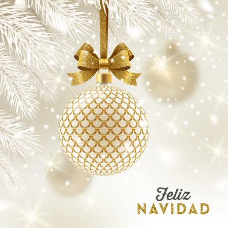 Feliz navidad - Christmas greetings in Spanish - patterned golden bauble with glitter gold bow hanging on a christmas tree. Vector illustration.