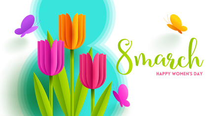 8 March International womens day illustration. Greeting card with paper tulips flowers and butterflies. Vector design.