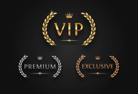 VIP, premium and exclusive sign with laurel wreath - golden, silver and bronze variants, isolated on black background. Luxury sign vector set.