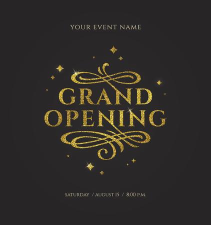 Gran inauguración: logotipo dorado brillante con florituras elementos ornamentales sobre fondo negro. Ilustración de vector.