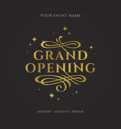 Inaugurazione - logo glitter oro con elementi ornamentali svolazzi su sfondo nero. Illustrazione vettoriale.