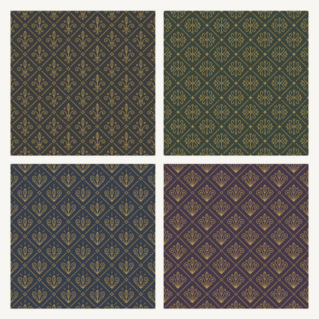 Set of seamless vintage flourishes pattern. Vector illustration.