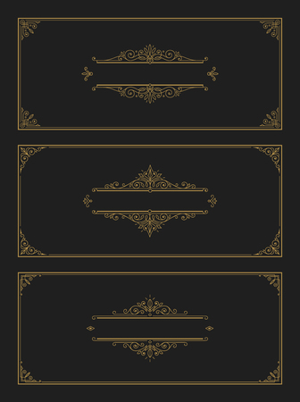 Set of flourishes and ornamental vector vintage design for invitation or greeting card. Vector illustration.