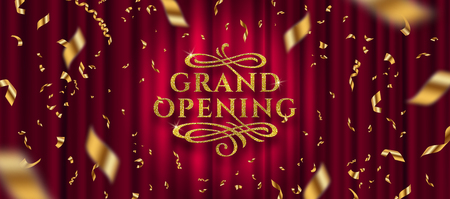 Grand opening logo. Golden foil confetti and glitter gold logo with flourishes ornamental elements on a red curtain background. Vector illustration. Logo