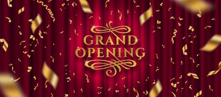Logo di grande apertura. Coriandoli in lamina d'oro e logo glitter oro con elementi ornamentali svolazzi su uno sfondo di tenda rossa. Illustrazione vettoriale. Logo