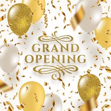 Grande inaugurazione - logo glitter oro con elementi ornamentali svolazzi circondati da coriandoli in lamina dorata, palloncini bianchi e oro glitter. Illustrazione vettoriale.