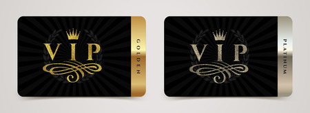 Golden and platinum VIP card template - type design with crown, flourishes element and laurel wreath on a black background. Vector illustration.