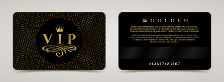 Golden VIP card template - type design with crown, and flourishes element on a guilloche background. Vector illustration. Illustration