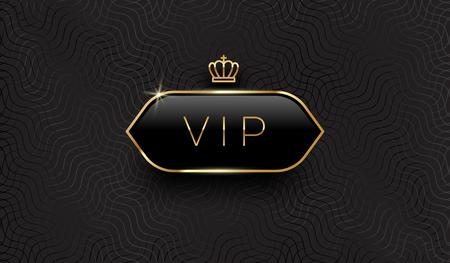 Vip black glass label with golden crown and frame on a black pattern background. Premium design. Luxury template design. Vector illustration. Illustration